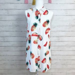 Entro Pineapple White Swing Dress Size M